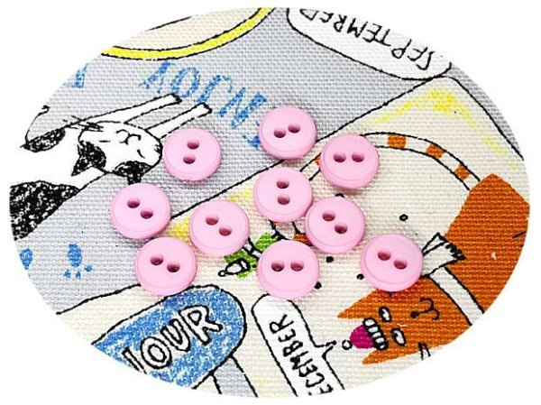 画像1: ドール用  8mmボタン/2.ピンク【10個入】 (1)