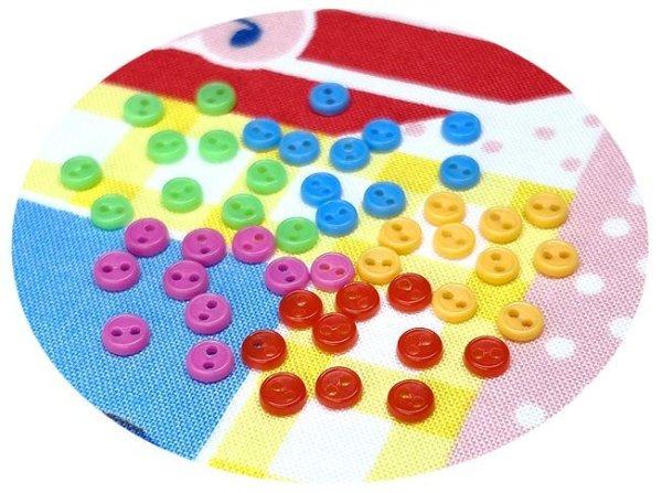 画像1: ドール用  4mmボタンセット/キャンディ【5色×10個=50個入】 (1)