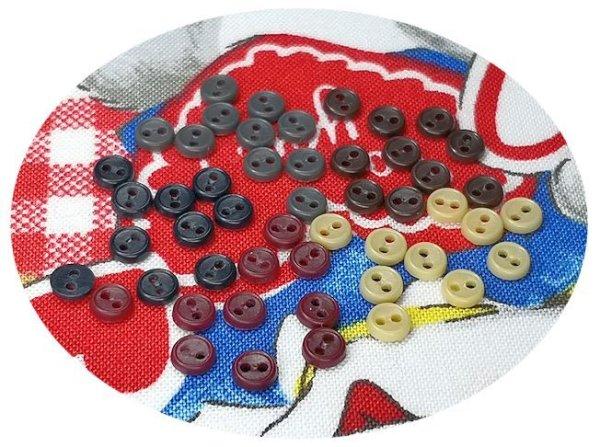 画像1: ドール用  4mmボタンセット/ダーク【5色×10個=50個入】 (1)